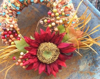 Bright Colored Yarn Wreath with Large Red Flower