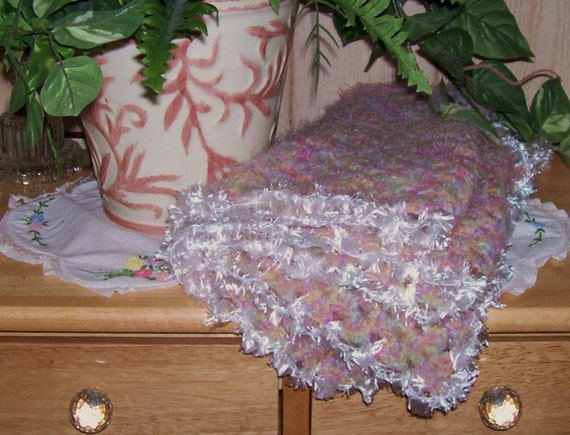 ON SALE :) Soft Multi-Colored Crocheted Afghan for Baby Girl