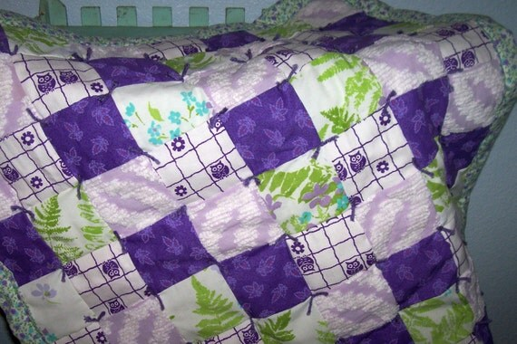 Vintage Fabric Bright Purple Owl Baby Quilt