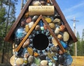 "Mosaic Birdhouse with Blue Gem Stones and Wine Corks ""The Palace"""