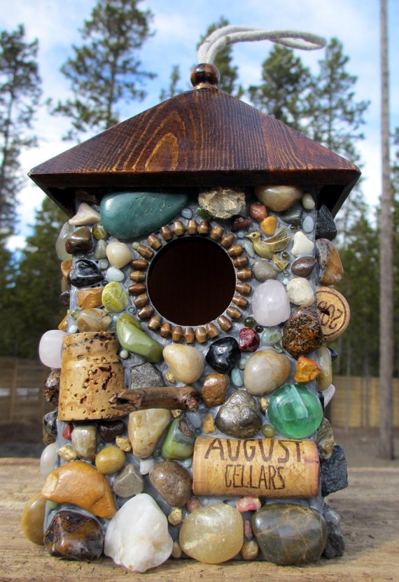 Outdoor hanging Birdhouse with Wine Corks and Rocks
