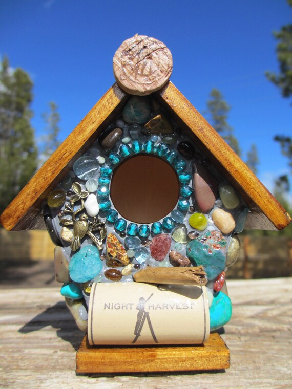 Whimsical garden birdhouse with Colorful agates and wine corks