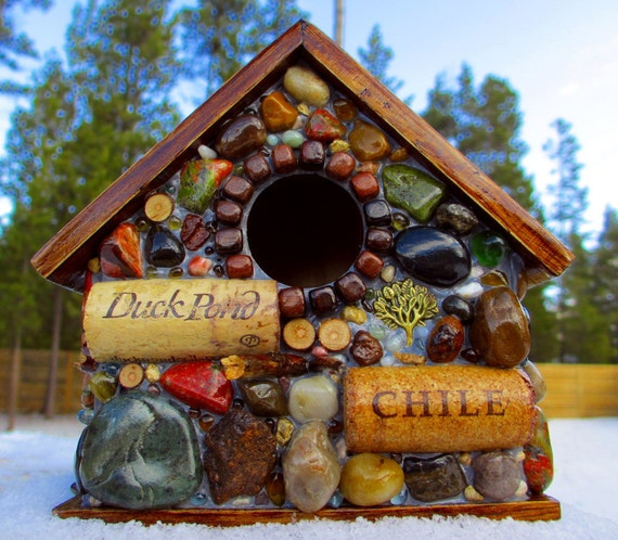 Outdoor Mosaic Birdhouse with wine corks, river stones, wood rounds and beach agates