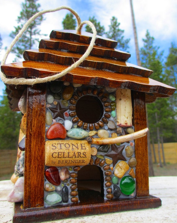 Rustic Star Birdhouse ready to hang outdoors