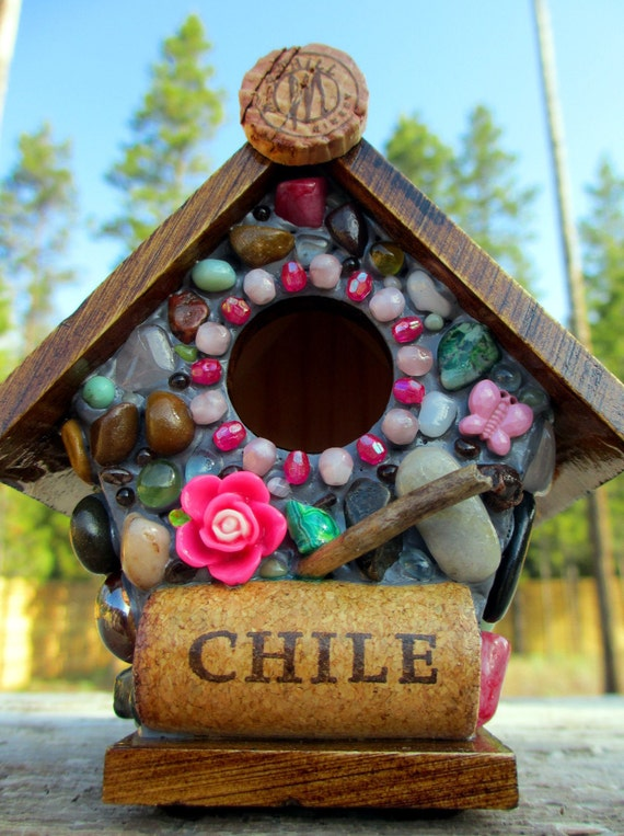 Whimsical Pink Butterfly and Rose Mosaic Garden birdhouse