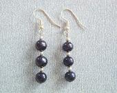 SALE - Jill Navy Blue Pearl Earrings