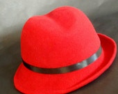 Red Slant Brim Wool Fedora