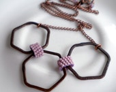 Handwoven Lavender Peyote Chain Links with Brushed Copper Hexagons - Necklace