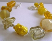 handcrafted bright yellow glass beaded bracelet