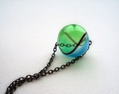 Blue and Green Transparent Lampwork Necklace. Hollow Glass Necklace.