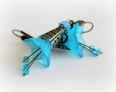 Morning Glory Sky Blue Vintage Earrings. Frosted Lucite Flower Earrings. Antique Bronze Earrings.