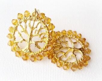 Autumn Tree Dangle Earrings. Swarovski Crystals Earrings. Wire Wrapped 16k Gold Earrings. Wedding Jewelry
