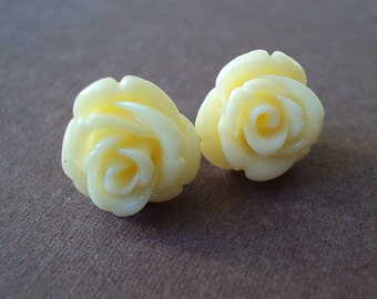 Ivory Coral Ear Studs. Creamy Rose Flower Earrings. Bridal Earrings. Bridesmaid Earrings. Wedding Jewelry.