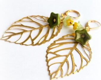 Spring Green Gold Leaf Earrings. Dangle Flower Earrings. Large Earrings. Filigree Leaves Long Earrings.