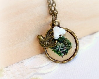 Bird Nest Small Pendant. Antique Bronze Family Necklace. Easter Brass Necklace. Tiny Spring Charms Necklace