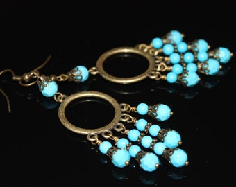 FREE Shipping Turquoise Earrings. Antique Bronze Long Earrings. Vintage Dangle Earrings. Brass Turquoise Chandelier Earrings. OOAK
