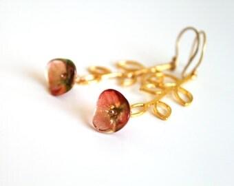 Tangerine Green Flower Gold Earrings. Dangle Leaf  Earrings. Long Branch Earrings.