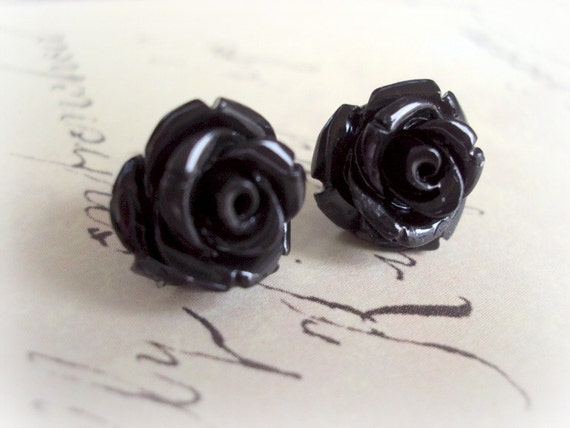 FREE Shipping. Black Coral 925 Sterling Silver Studs. Black Rose Flower Earrings. Bridal Earrings. Wedding Jewelry.