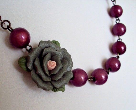 Gray and Reflective Purple Beaded Flower Necklace. Statement Necklace. Bridesmaid Necklace. Boho Wedding Jewelry.