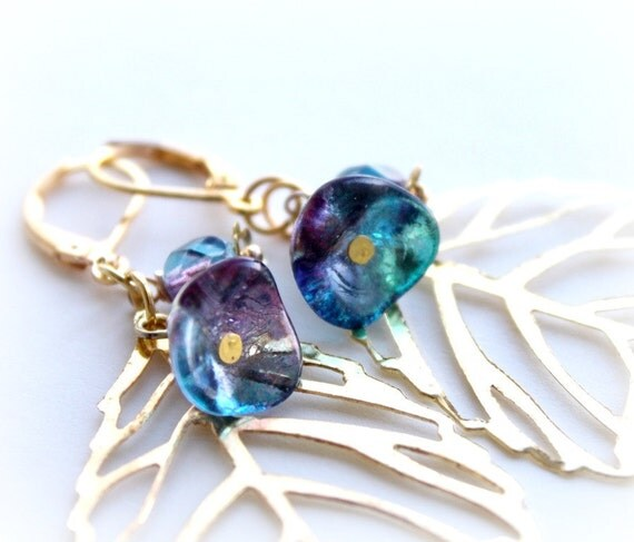 Pink Blue Gold Leaf Earrings. Dangle Flower Earrings. Large Earrings. Filigree Leaves Long Earrings.