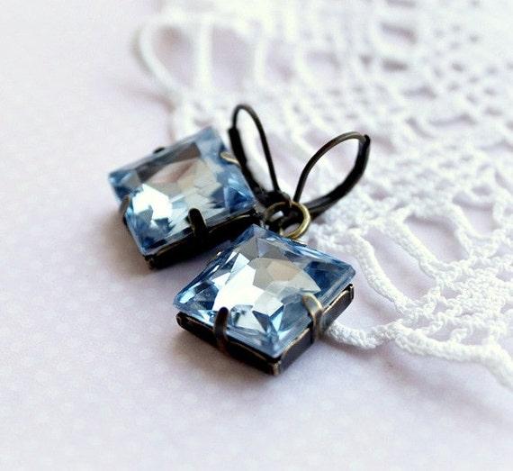 ONLY ONE PAIR Large Aqua Blue Square Bronze Earrings. Vintage Periwinkle Rhinestone Earrings