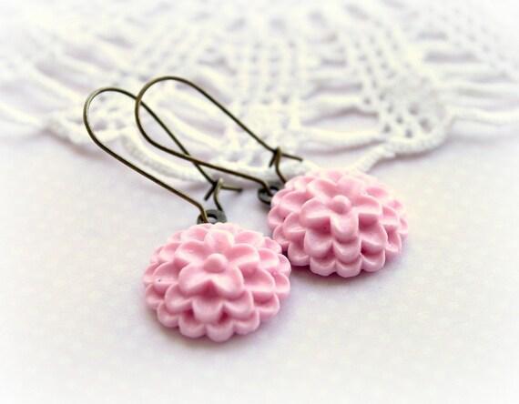 Baby Pink Flower Earrings. Vintage Bronze Dahlia Cabochon Earrings. Spring Trends
