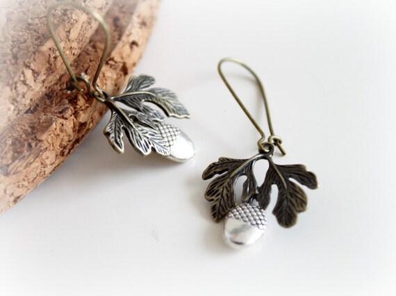 NEW Antique Bronze Dangle Earrings. Acorn Long Earrings. Silver Brass Vintage Earrings. Nature Collection
