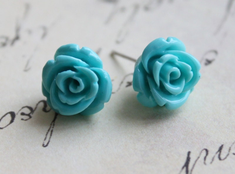 RESERVED for Kali. Turquoise Ear Studs. Sky Blue Rose Flower