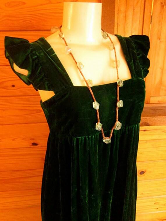 Vtg 70's Crushed VELVET - MAXI Dress // Size Small