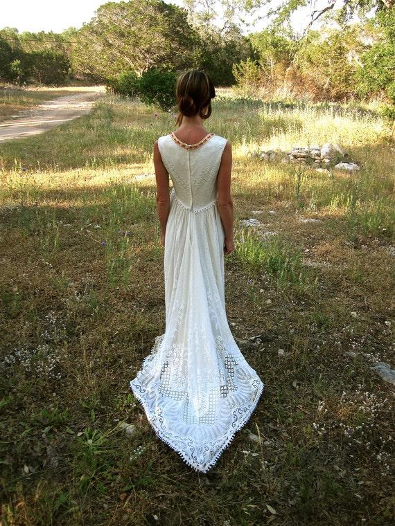 70's Bohemian Wedding Dress - Crocheted Handmade // VTG DREAM Gown