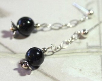 Sterling silver and black tigereye drop earrings...close out Holiday SALE