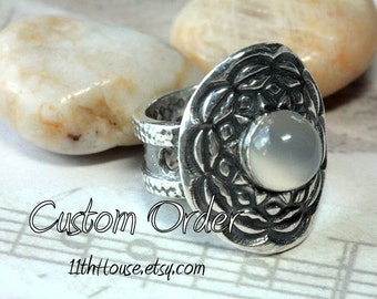 Custom orders...Artisan silver and Moonstone ring large and weighty impressive handcrafted art piece