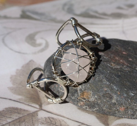 sale!! Artisan sterling silver quartz bracelet with chunky pink stone... Spring Pink Beautiful !