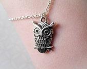 Little Owl Bracelet - Antiqued Silver - Woodland - Charm Bracelet - Owl Jewelry