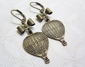 Hot Air Balloon & Bow Earrings - Vintage Inspired - Whimsical Jewelry - World Traveler