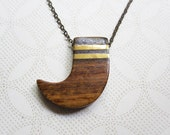 Wooden Claw Necklace - Vintage Pendant - Boho Jewelry - Nature Inspired Jewelry - Bear Claw - Tooth Pendant