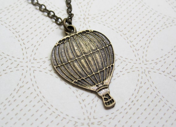 Hot Air Balloon Necklace ~ Vintage Inspired ~ Whimsical Jewelry ~ World Traveler ~ Pendant Necklace ~ Graduation Gift ~ Travel Jewelry