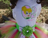 Birthday Tutu Outfit - Tinkerbell 3 piece set: Embroidered shirt, tutu, headband