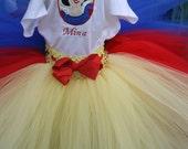 Birthday Tutu Outfit: Snow White 3 piece set, embroidered shirt, tutu and headband