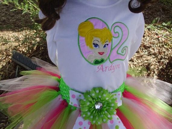Birthday Tutu Outfit - Tinkerbell 3 piece set: Embroidered shirt, tutu, headband