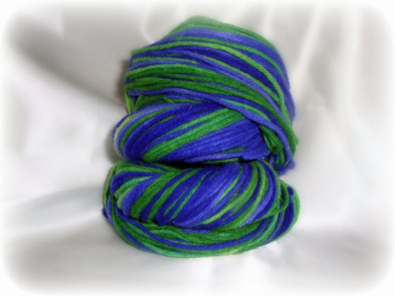 Self Striping Graidiant Green and Violet Blue Worsted Weight Yarn