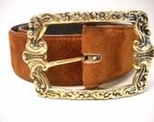Vintage Suede Belt / Copper / Gold Buckle