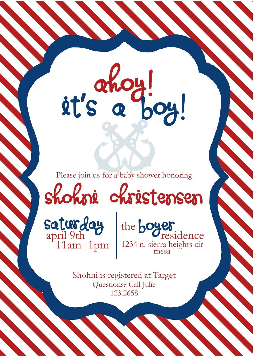 printable baby shower invitation nautical red by inkddesigns
