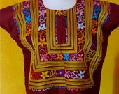 SALE Mexican Embroidered Huipil Blouse Maroon Tehuana Vintage Frida Style B
