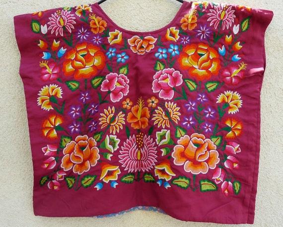Mexican Tehuana embroidered huipil  Burgundy Satin Vintage Frida Style