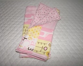 Double-Layer Flannel Burp Cloths - Little Cutie - Set of 2