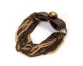 Brown Leather Cuff link and Golden Blend Chains Bracelet