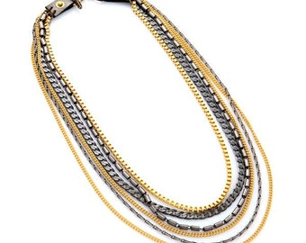 Gold and Gun Metal Multi Chain Necklace