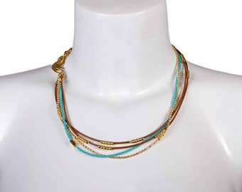 Wrap Turquoise and Gold Beads with Chain and Leather Bracelet