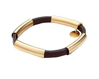 Golden Tubes and Black Leather Bracelet